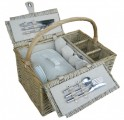 Piknikový koš Antique bílý pro 4 osoby