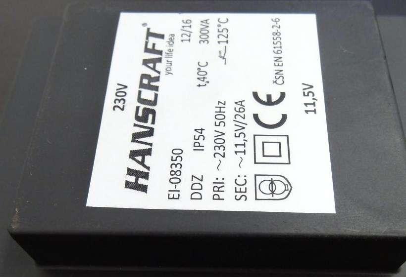 Transformátor bezpečností 300VA (230-11,5 V)zalitý