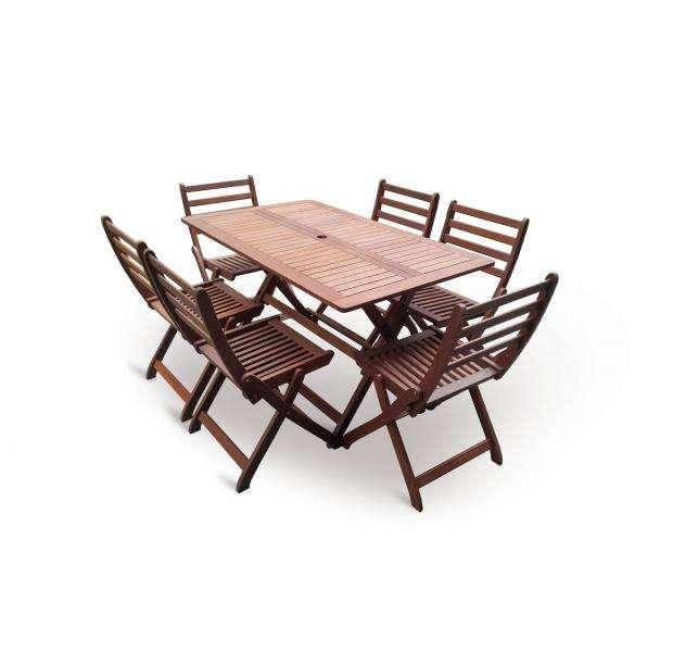 VeGA set 6, stolová skládací sestava, dřevo meranti, dárek V-GARDEN