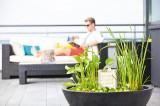 Zvětšit fotografii - Moderní vodní zahrada Calma - sada s fontánkou 75x75x30cm, kulatá černá