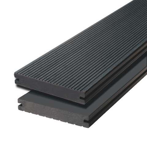 WPC terasová prkna Biwood Pro Ebony grey, F - jemná drážka / hladký