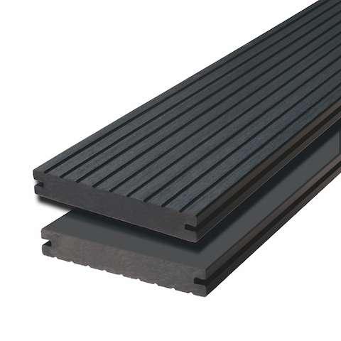 WPC terasová prkna Biwood Pro Ebony grey, G - hrubá drážka / hladký
