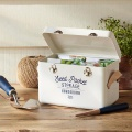Burgon&Ball Plechový box na semínka, kožené rukojeti