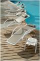 Les Jardins Sunbow Polohovací bílé alu lehátko s popelavým batyline