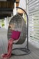 Barcelona závěsná ratanová houpačka šedá