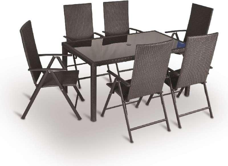 Zahradní stolová sestava VALENCIA set 6 - AL, kombinace hliník/umělý ratan V-GARDEN