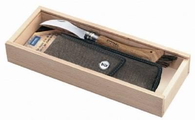 Houbařský nůž OPINEL s koženým pouzdren v dárkové kazetě